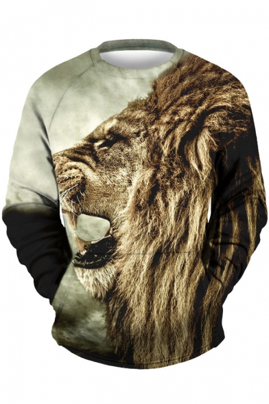 Popular Pullover Lion SLeeeve Round Neck Long Print Hot Sweatshirt Head Zqcdfwx1qA