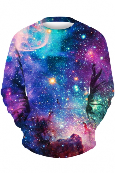 Sweatshirt Sleeve Leisure Neck Galaxy Round Print Long Pullover x0R6Pqa