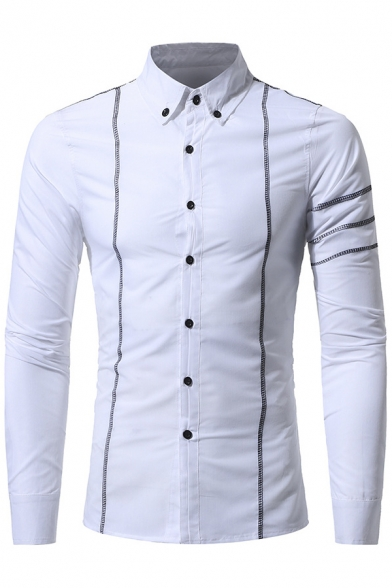 Men's Fashion Stand-up Collar Long Sleeves Stripes Button-Down ...