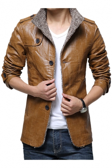 Men's Winter Warm Simple Plain Stand-Up Collar Long Sleeve PU Coat