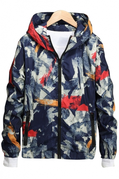 New Fashion Camouflage Pattern Hooded Zip Up Long Sleeve Coat