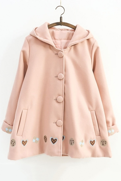 New Fashion Cookie Cartoon Embroidered Buttons Down Long Sleeve Woolen Coat