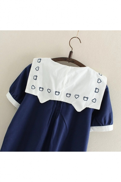 New Fashion Cartoon Embroidered Short Sleeve Shift Mini Dress