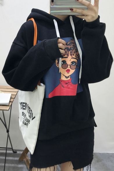 Long New Sleeve Fashion Print Girl Hoodie Cartoon 76IT6qp