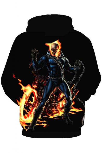 Fire Print Long Hoodie New Sleeve Fashion Skull xwTqqEg7