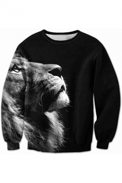 New Leisure Sweatshirt Sleeve Print Long Lion Pullover fU8qrfw
