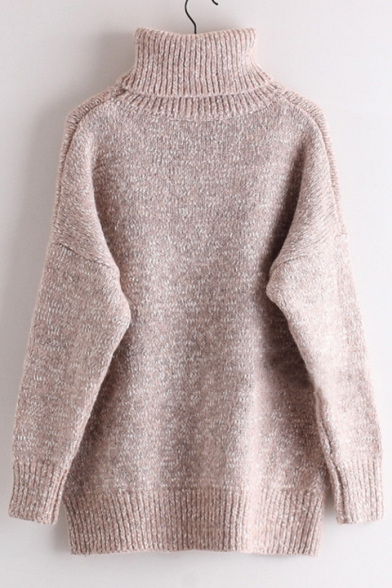 Pullover Plain Leisure Long Sweater Turtleneck New Sleeve qP6g8vwvx