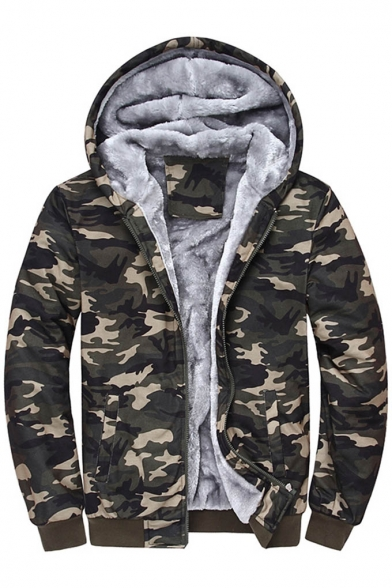 Zipper Camouflage Long Unisex Stylish Hooded Sleeve Coat New wIz5q7
