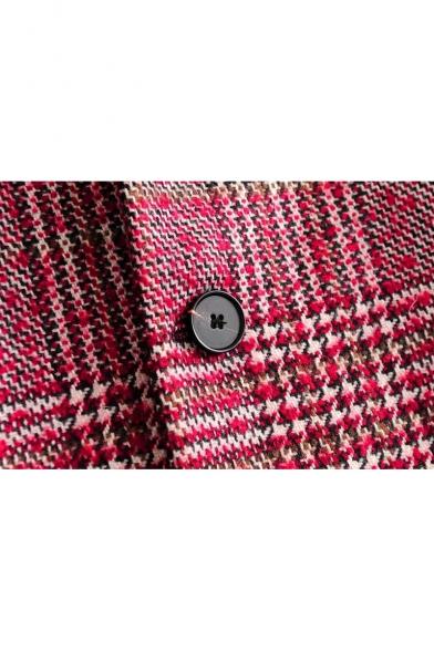 New Stylish Classic Plaid Long Sleeve Tunic Coat