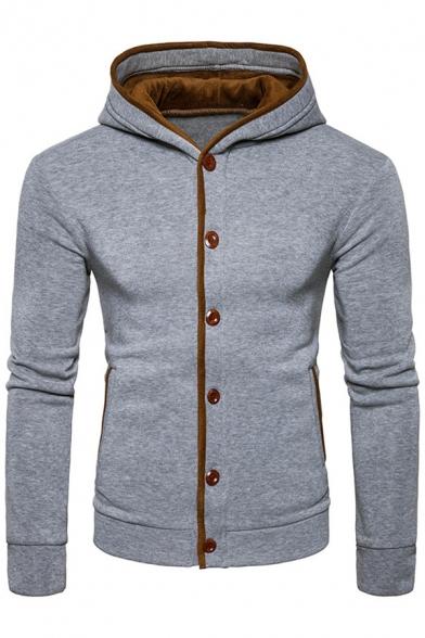 New Stylish Single Breasted Long Sleeve Hooded Coat