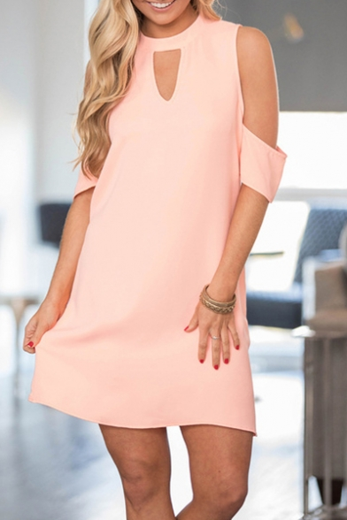 New Stylish Keyhole Cold Shoulder Simple Plain Mini A-Line Dress
