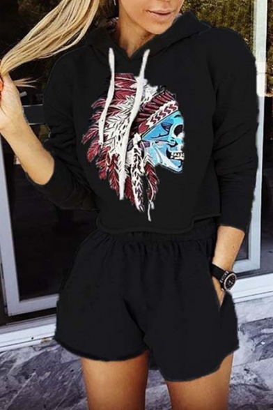 New Stylish Skull Print Cropped Hoodie Shorts Co-ords