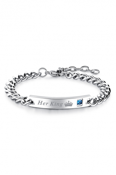 New Trendy Simple Romantic Letter Print Steel Bracelet