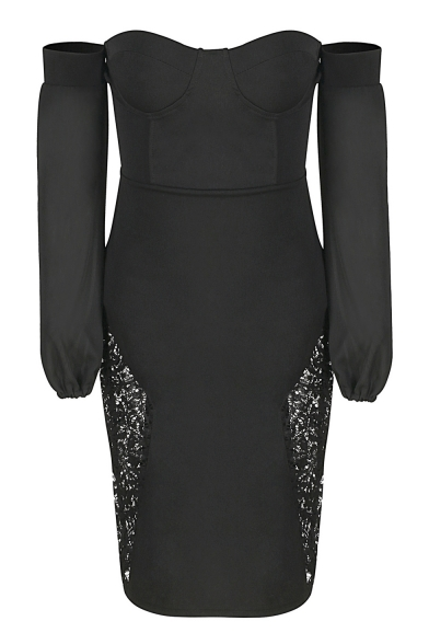 Sexy Off Shoulder Open Back Long Sleeve Lace Panel Bodycon Dress