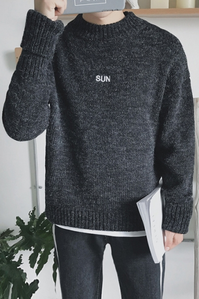 Sleeve Letter Pullover Embroidered Simple Long Sweater Plain qZwISI