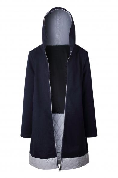Chic Color Block Print Bow Back Long Sleeve Zipper Tunic Hooded Coat