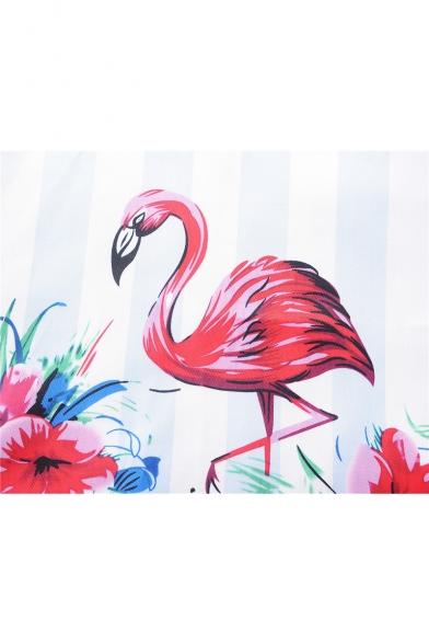Chic Floral Flamingo Pattern V-Neck Long Sleeve Fit & Flare Midi Dress