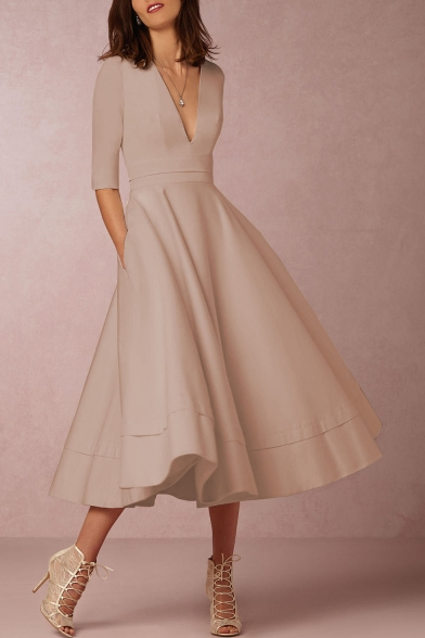 1165b85b1e6 Elegant Plunge Neck Half Sleeves A-line Plain Midi Dress - Beautifulhalo.com