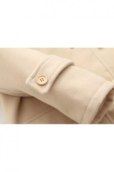 Fashion Cute Bear Embroidered Single Breasted Tunic Hooded Coat