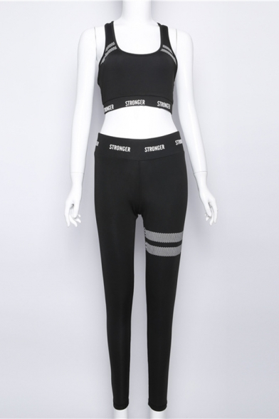 Leisure Letter Print Scoop Neck Cropped Tank with Elastic Waist Skinny Pants
