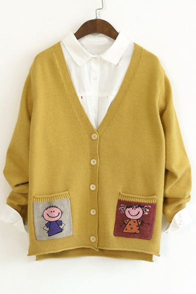 Sleeve Buttons Long Cardigan Down V Pattern Lovely Neck Cartoon 7XqZZC