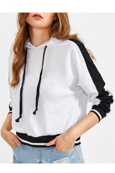 Hoodie Striped Block Sleeve Long New Color Fashion x6qEYnESHw