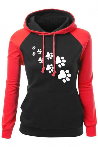 Fashion Cartoon Long Block Print Sleeve New Hoodie Color Leisure UISwdxd