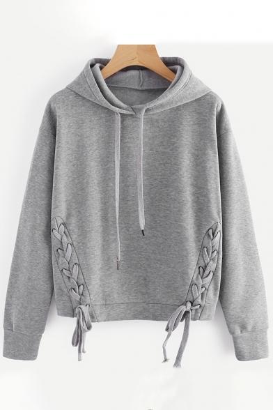 Fashion New Hoodie Sleeve SImple Long Crisscross Side Plain vadFa8q