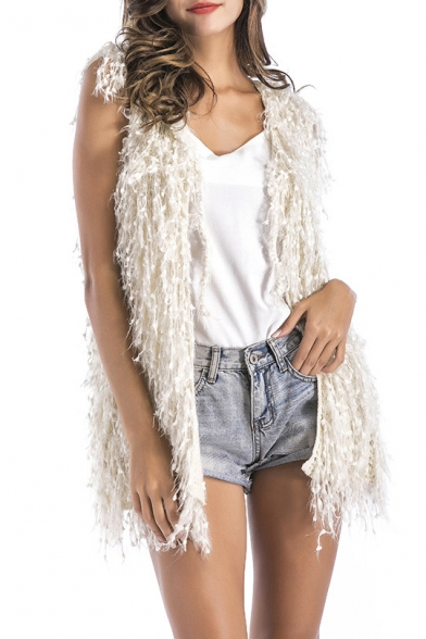 Hem Cardigan Fashion Open New Front Sleeveless Plain Simple Tassel qgqf8Iw