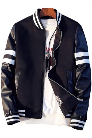 New Stylish Color Block Print Stand-Up Collar Long Sleeve Baseball Jacket