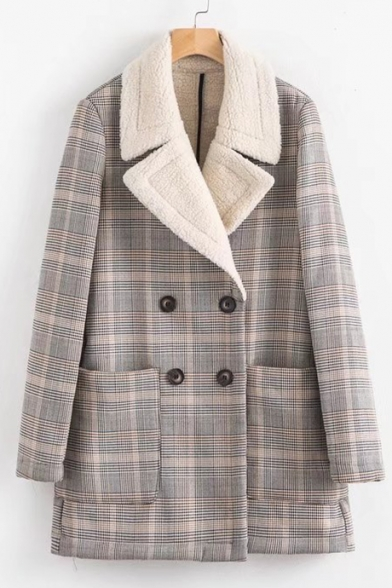 New Plaid Coat Sleeve Notched Classic Lapel Stylish Long 1nqzwB41