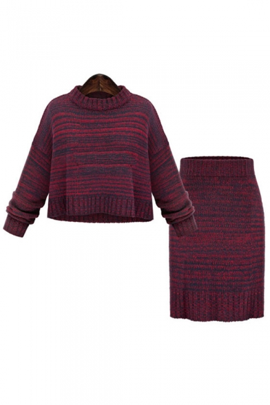 New Stylish Round Neck Long Sleeve Shift Skirt Knitted Co-ords