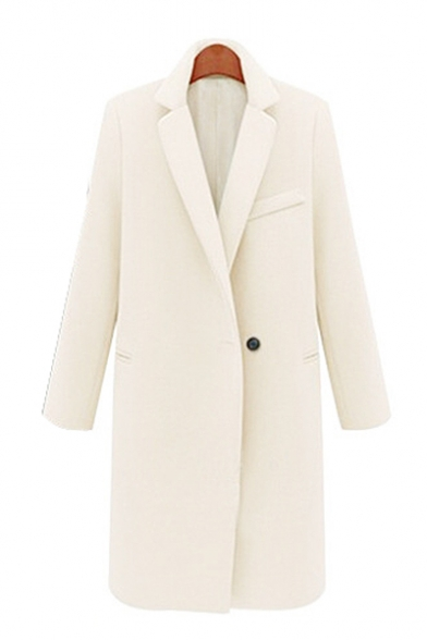 Button Tunic New Plain Lapel Sleeve Coat Long Stylish Notched Single EEr8SwCqv