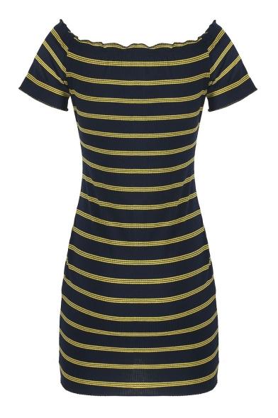 Sexy Off Shoulder Open Back Short Sleeve Striped Mini Dress