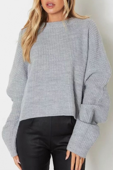 Crew Pullover Sleeves Simple Long Sweater Ribbed Knitted Neck qgxfxFBwn1