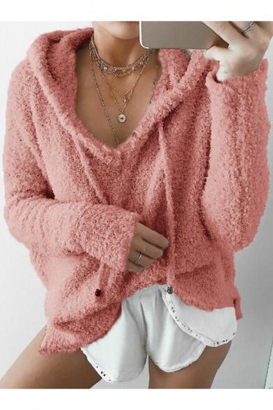 Simple Plain Drawstring Hooded Long Sleeve Loose Fur Hoodie