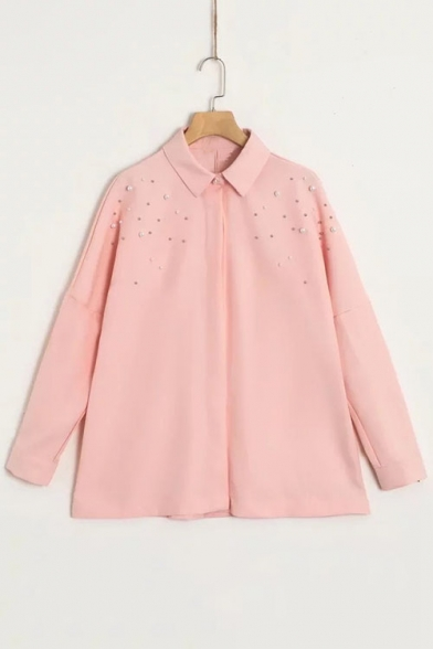 Buttons Sleeve Embellished Long Down Lapel Plain Simple Shirt Pearl CxSqXwYCc1