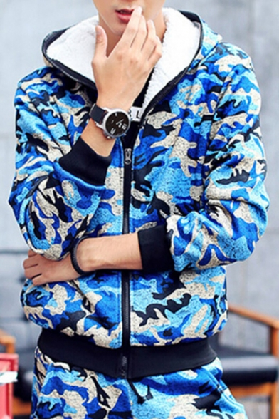 Sportive Camouflaged Quilted Hooded Zippered Slim-Fit Long Sleeves Elastic Waist Co-ords