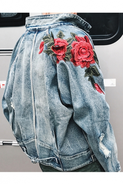 Long Breasted Pattern Embroidery Rose Jacket Chic Denim Single Sleeve CIwXABxq