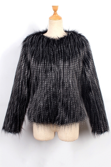 Open Sleeve Front Faux Fashion Coat Long Warm Fur 4REqFxwtF