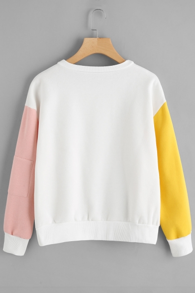 Long Block New Sleeve Sweatshirt Neck Fashion Round Color Print Letter Pullover FqR0Oq