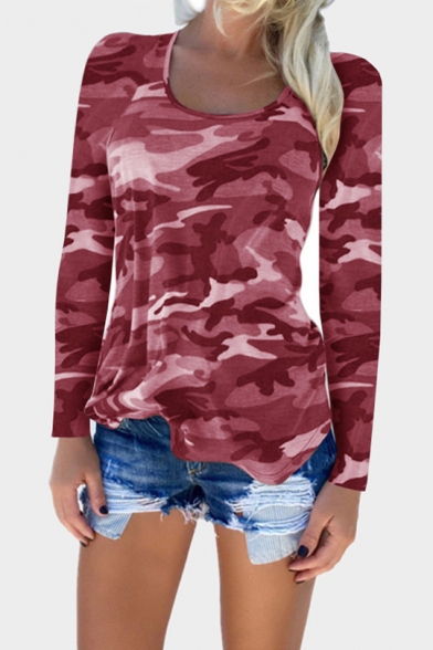 Sleeve Camouflage Neck New Long Tee Fashoin Scoop Pattern wTYxqx6gO