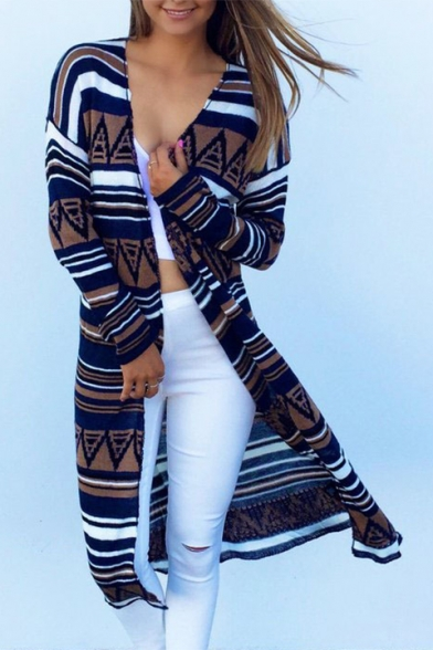 New Stylish Color Block Striped Print Open Front Long Sleeve Tunic Coat