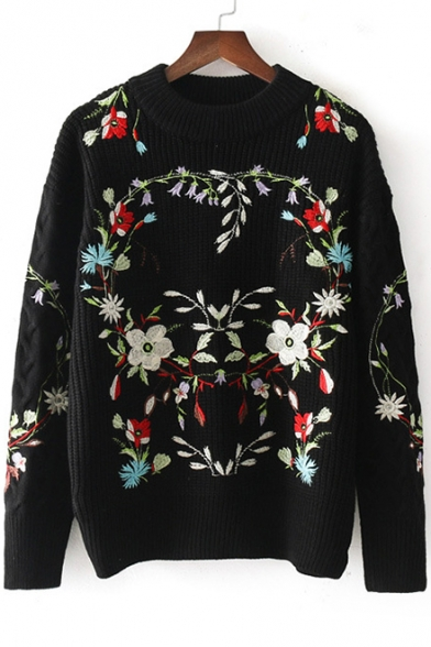 Baycheer / New Stylish Floral Print Round Neck Long Sleeve Pullover Sweater