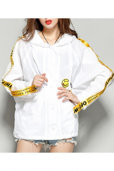 Sleeve Hooded Print Coat New Sun Proof Stylish Long Letter nExwxIq0