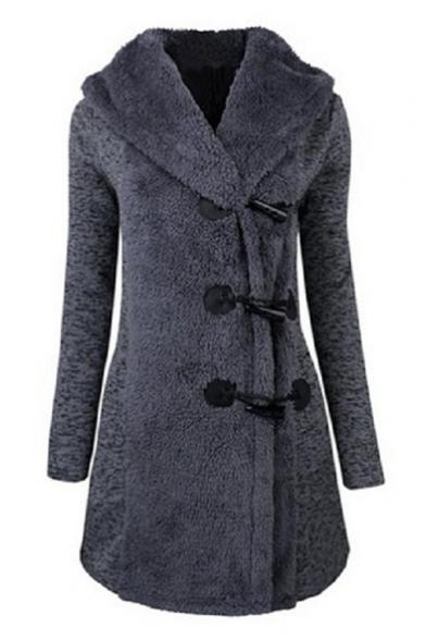 Hooded New Simple Stylish Sleeve Tunic Plain Coat Long Toggle Sw0OxqSv