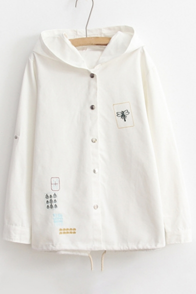 Simple Embroidered Hooded Long Sleeve Buttons Down Windproof Coat