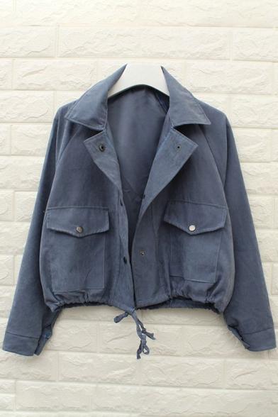 Simple Plain Notch Lapel Buttons Down Long Sleeve Cotton Coat