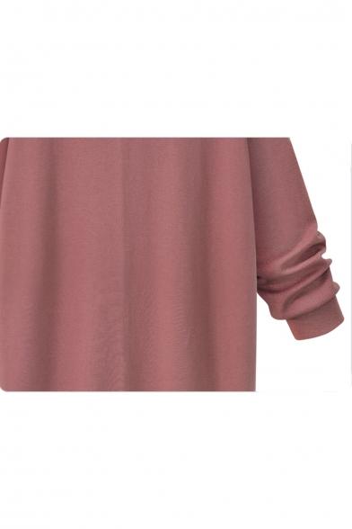 Simple Plain Split Side Long Sleeve Longline Hoodie