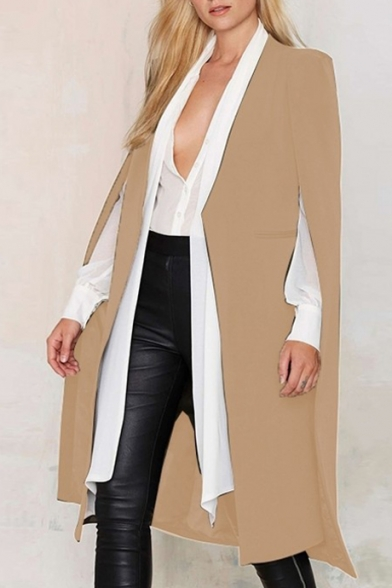 Winter Fashion Spiffy Cutting Open Front Longline Poncho